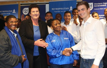 From left Patrick Williams (Team manager), Belinda Faulkner (Brand Executive from Metropolitan) and Minister Nomafrench Mbombo congratulating Byron Mckellar who was selected as the team Western Cape captain.