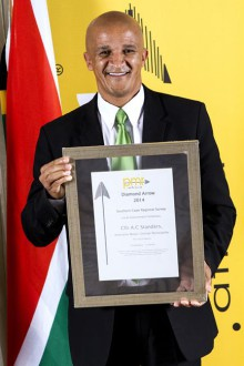 Deputy Mayor for George, Daniel Maritz collected on behalf of the Executive Mayor of George, Alderman Charles Standers, the award for most pro-active Mayor in the Southern Cape Region.