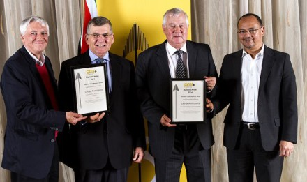 Collecting the awards at the Business Leaders Function last week were from left: Portfolio Councillor for Finance, Leon Van Wyk;  Portfolio Councillor for Planning, Johan Stander; Portfolio Councillor for Environmental Affairs and Sport, Erasmus De Villiers and Municipal Manager for George, Trevor Botha.