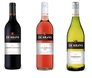 From left to right: De Krans Cabernet Sauvignon 2013, Tinta Barocca Rosé 2014 and Chardonnay 2013