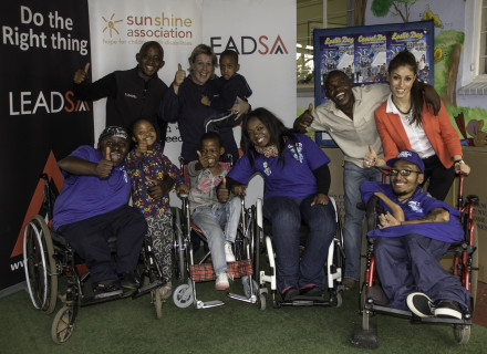 Top L-R: LeadSA's Tshaimo Ndlovu, Shannon O'Keefe with Oratile Lemao, Michael Ngobeni and Casual Day ambassador Nicole Laxton. Bottom row L-R: Casual Day ambassador Khumo Moyane, Sunshine learners Diteboho Majara and Cindy Nchabeleng, with Casual Day ambassadors Thuli Matlala and Tujay Harmonix.