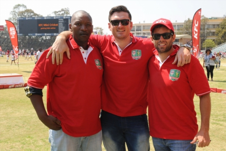 2.KFC Mini-Cricket Coaches Mfuneko Ngam, Graeme Smith and Neil McKenzie at the KFC Mini-Cricket vs Proteas season launch. These ex Proteas players are going to assist the KFC Mini-Cricket coaches in getting their kids ready for the KFC Mini-Cricket Kids vs Proteas matches that will be played as curtain raisers to the KFC T20 Internationals in January.