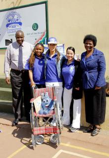 Adelaide Tambo School principal  Mr Lindela Memani, Casual Day ambassadors Simphiwe Mkhize, Nicole Laxton and Bernadette Rigney, with Adelaide Tambo educator  Ms Belsie Makhubo.