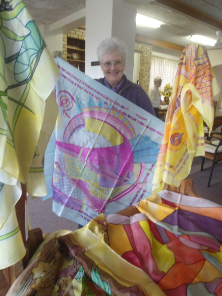 : Liz Bagnall with her Silk Paintings - she will do her demonstration from 10:00 - 11:00
