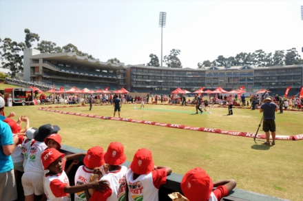 7.General view of the match where a team of KFC Mini-Cricket kids took on a team of Proteas and Proteas women during the KFC Mini-Cricket Kids vs Proteas season launch.