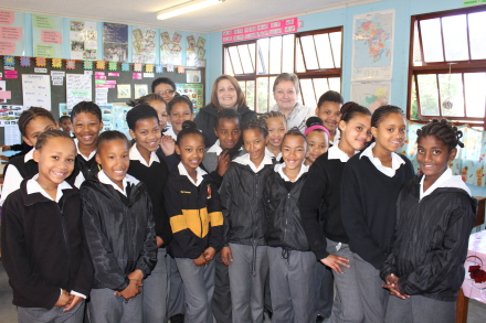Girls in the Grade 4 A class at Dellvilla Primary School are ready for the second round of the HPV vaccine. At the back is Susan Kruger(child health coordinator  DoH), Dr Helise Schumann(Eden District Manager DoH) and Jennifer von Merch(teacher).