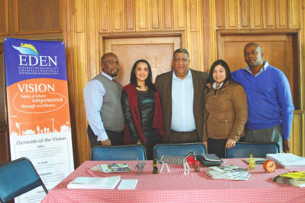 At the Eden stand are (fltr):  Eden's Deputy Manager for Finance responsible for Supply Chain, Mr Tebello Mphuru, Eden's Tourism official, Ms Amagene Koeberg, Eden's Executive Mayor, Cllr Wessie Van der Westhuizen, Eden's LED Coordinator, Ms Natalie Raubenheimer and official in the Office of the Executive Mayor, Mr Vuyani Gouws.