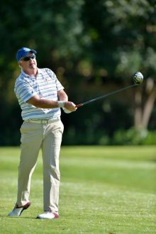 Zwartkops amateur Chris Delport grabbed a share of the second round lead at the 2014 Indwe Risk Services South African Senior Amateur Stroke Play Championship at Pecanwood Country Club; credit Catherine Kotze, SASPA.