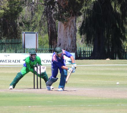 Pieter Malan, the Western Province captain, on his way to an undefeated match winning innings of 148*