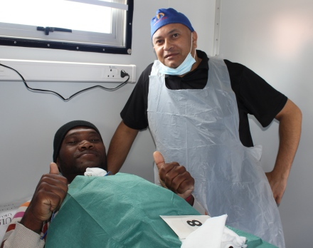 Enrico Pieterse was more than ready to have the procedure done by Dr Gary Small.