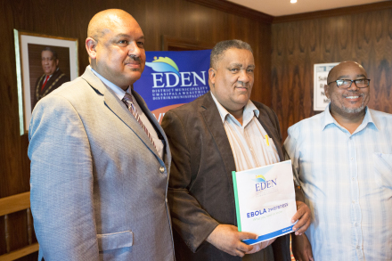 During the launch of the first Ebola Braille information brochure at the press conference held on Friday, 7 November 2014, are fltr: Eden's Executive Manager for Community Services, Mr Clive Africa, Eden's Executive Mayor, Cllr Wessie van der Westhuizen and Eden's Portfolio Councillor for Community Services, Cllr Henry McCombi.