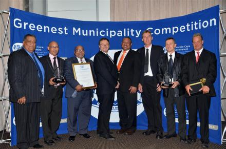 After a press conference held on Friday, 7 November 2014, are (fltr): Mr Clive Africa - Executive Manager for Community Services, Portfolio Councillor for Community Services, Cllr Henry McCombi, Executive Mayor, Cllr Wessie Van der Westhuizen, Municipal Manager, Mr Godfrey Louw, Eden Manager for Environmental Services, Mr Johan Compion and Eden's Coordinator: Environmental Management: Mr Vernon Gibbs-Halls, with the accolades of their victory.