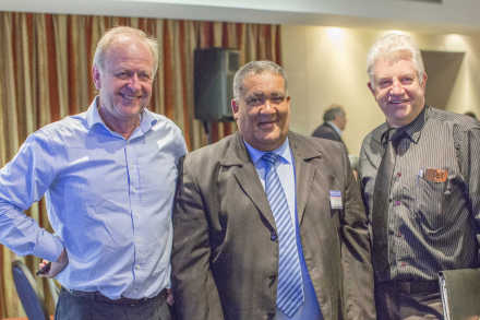 The panel of discussions consisted of the following speakers (fltr): CEO of the Western Cape Economic Development Partnership, Mr Andrew Boraine, Eden's Executive Mayor, Cllr Wessie van der Westhuizen and keynote speaker, Western Cape Minister of Tourism, Economic Development and Agriculture, MEC Alan Winde.