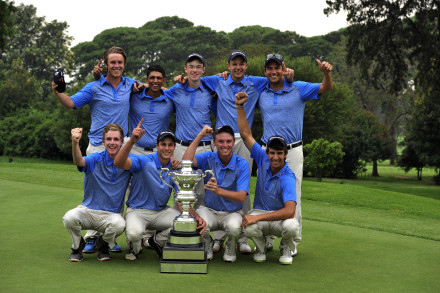 The triumphant Western Province team, A-Division winners of the 2014 South African Under-19 Inter-Provincial at Krugersdorp Golf Club; credit Catherine Kotze / SASPA. Back, ltr: Noel Anderson, Hayden Garcia, Cole Cruickshank, Luca Filippi & James Wade (manager) Front, ltr: Alistair Snowdon, Luke Trocado, Michael Sherriff and Altin van der Merwe.