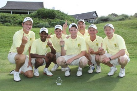 The victorious South African Junior Team that defeated France in a two-day Test at St Francis Links; credit Charl Blaauw. From left to right: Jovan Rebula (captain), Dylan Naidoo, Herman Loubser, Marco Steyn, Eden Thompson (manager), JP Cooper and Keegan de Lange. — with Jovan Rebula, Dylan Naidoo, Herman Loubser, Marco Steyn, Jet Black Dragonfly - The Art of Eden Thompson, JP Cooper and Keegan de Lange at St Francis Links.