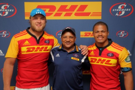 New Stormers captain Duane Vermeulen, Allister Coetzee and vice captain Juan de Jongh during the DHL Stormers training session and press conference at Hermanus Primary School on January 16, 2015 in Hermanus, South Africa. (Photo by Carl Fourie/Gallo Images)