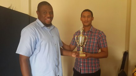 The George Stores office was the winners in the Administration and Stores Section.  Mr Mthetho Sithonga, Chairperson for the Eastern Health and Safety Committee handed over the trophy to Mr Andre Esterhuizen, the Safety Representative of the Stores Section in George.