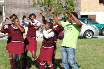 Pupils from Percy Mdala High School during a drama workshop presented by Lunchbox Theater, a local drama group from Bitou.