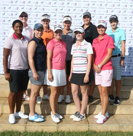 The 2015 Investec Cup for Ladies finalists; credit Carl Fourie. Back, from left to right – Monique Smit, Nicole Garcia, Kim Williams, Bonita Bredenhann (Namibia) and Monja Richards. Front, from left to right – Nobuhle Dlamini (Swaziland), Stacy Bregman, Melissa Eaton, Lucy Williams (England) and 2014/2015 champion Lee-Anne Pace.