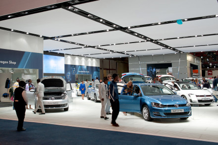 The Volkswagen stand at the 2013 motor show. Picture: Quickpic