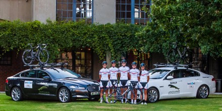 South African women's cycling team Bestmed-ASG-Multihull launched its official vehicle partnership with luxury brand Jaguar during last week's Bestmed Tour de Boland. Pictured here at Saronsberg outside host town Tulbagh are, from left, Kim le Court, Vera Adrian, Maroesjka Matthee, Desray Sebregts and Michelle Benson. Photo: Capcha Photography