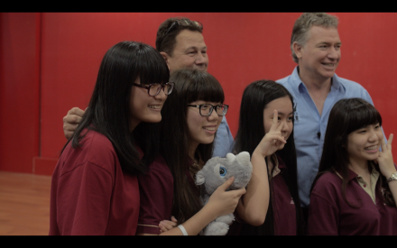 Matthew Norval of the Wilderness Foundation with Vietnamese youth at the launch of Wild Rhino in Ho Chi Minh City