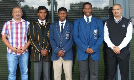 The Cricket South Africa bursary recipients of the Sunfoil Education Trust and Momentum Excellence intake programs with Johan Weyers (Amateur Manager SWD Cricket) and Rudy Claassen (President SWD Cricket) were Matthew Thorne (Outeniqua High School;  Grade 8 - Sunfoil Education Trust Bursary), Bugan Esau (Glenwood House; Grade 9 – Momentum 2 Excellence Intake) and Grant Esau (Langenhoven Gymnasium;  Grade 11 – Momentum 2 Excellence Intake)