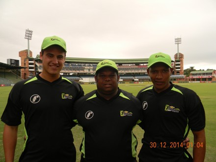 SWDS's Hanno Kotze (left) and Otneill Baartman (right) together with André du Plessis (centre) the coach recently participated in the Cricket South Africa Franchise Academies week for the Warriors team that was hosted in Potchefstroom.  Kotze, who made a century (108) against the Titans, was included in the SA Colts team that will participate in the Future Cup tournament in Kimberley in April