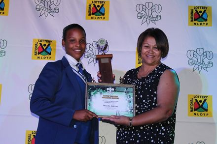10.Micaela Andrews, (left) received the award for Player of the Season: SWD Women's League  from Me Shireen Noble, Chairperson of Women's Cricket Committee
