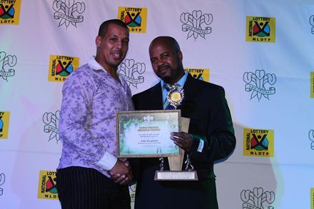 11.John Koopman, (left) received the award for Player of the Season in the Promotion League from John Komanisi, Vice-Presidentof SWD Cricket