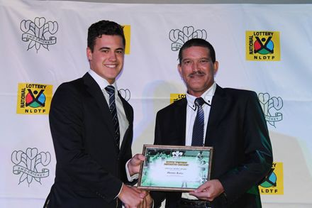 4.Hanno Kotze (left) received a Special Merit Award for his inclusion in the SA Colts u/23 team from from Mr Franco Coerecius (Member of the Board of Director of SWD Cricket)