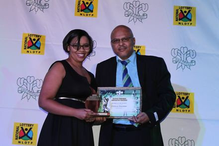 6.Mrs Felencia Stuurman, (left) received the award for Scorer of the Season from Mr Calvin Scheepers, member of the Board of Director of SWD Cricket