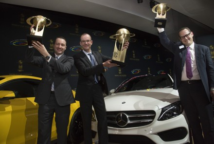 """Mercedes-Benz won three categories in the prestigious """"World Car Awards 2015"""". Christoph Horn, Head of Global Communication Passenger Cars Mercedes-Benz and Rob Moran, Director Mercedes-Benz USA Communications, received the awards on behalf of the brand with the three pointed star at a ceremony held on the occasion of the New York International Auto Show. from left. Rob Moran, Christoph Horn and Christian Bokich. Picture: QuickPic"""