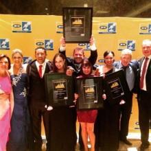 Winning moments for the Algoa FM team at the MTN Radio Awards; from the left, Toinette Koumpan, Lauren Mungur, Baydu Adams, Nadia Pieterse, Daron Mann, Marna Haskins, Jennilee Peremore, Alfie Jay and Dave Tiltmann.