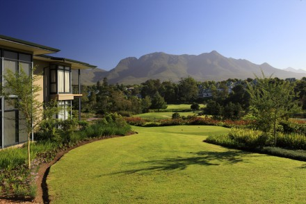 The scenic view over the Fancourt Montagu golf course towards the Outeniqua Mountains