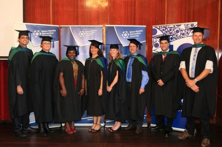 MASTERS OF THEIR SUBJECT...  Master's students (from left) Willem Matthee, Aneri Vlok, Tatenda Mapeto, Taniia Strauss, Kate Southey, Albert Ackhurst , Hannes van Zyl and Barry Muller  celebrate their success  after graduating with MSc and MTech research degrees from NMMU George Campus.