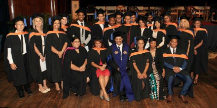 EDUCATION BOOST... A proud NMMU George Campus Principal, Prof Quinton Johnson (centre) and staff of NMMU's Faculty of Education, with some of the students who had successfully graduated with the degree Bachelor of Education (Further Education and Training) from the NMMU George Campus this year.