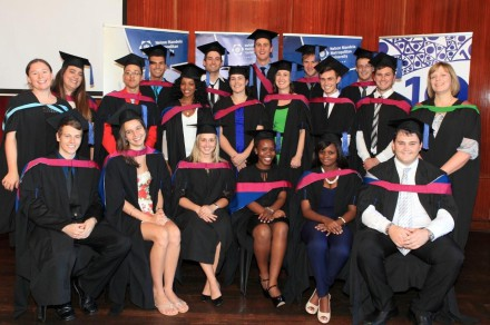 BOOST FOR BUSINESS...  NMMU BCom graduates celebrate with their lecturers, Ms Jane Fountain (far right) and Ms Catherine Fourie (left) after graduating from the NMMU George on 10 April.