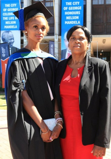 GOLDEN MOMENT... Mrs Weziwe Mthembu joined her daughter, Noxolo Ndlovu, recipient of the prestigious Schlich Medal, Gold, and top National Diploma: Forestry (Cum Laude) graduate at the NMMU George Campus graduation ceremony held at the George Civic Centre on 10 April.