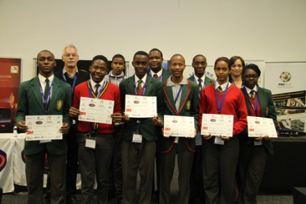 These pupils from the John Orr Technical High School in Johannesburg were presented with certificates at the RMI conference     Picture: Quickpic