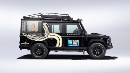 "The ""special"" Defender and the Webb-Ellis Rugby World Cup Trophy. Pictures: Land Rover"