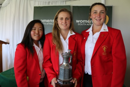 Woo-Ju Son, Kaleigh Telfer and Ivanna from Gauteng won the Swiss Teams Trophy in the 72-Hole Teams Championship at East London Golf Club; credit Rose Bishop / LGG