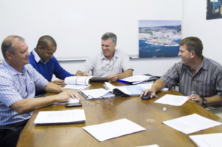Pictured from left to right are a few members of the Eden ICT Team: Eden DM ICT Manager: Koos Nieuwoudt; GIS Technologist: Salman Damons; Senior Officer Systems Support: Rhyn Alberts; IT Risk & Logistics Administrator: Morné Stevens
