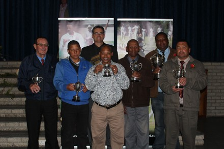 Back Row:  Jean Neethling (Administrator of the Year) and George Nieweveldt (Winner:  Premier League)  Front Row:  Gawie Kruger (Runner Up Reserve League), Marcel May (Winner Reserve League), Brendon Lawrence (Runner Up Women's League), Neville Du Plessis (Winner Promotion League) and John Frans (Runner Up Premier League)