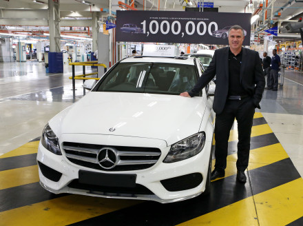 Arno van der Merwe CEO and executive director of MBSA with  the one millionth Mercedes-Benz passenger car off the line at the Mercedes-Benz East London plant. Picture: Quickpic