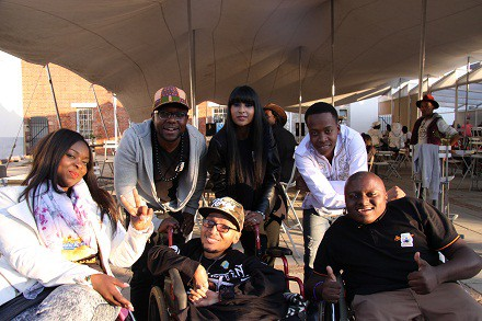 Back Casual Day ambassador Thuli Matlala, Zubz, and TV presenter Lezanne Naidoo. Front Casual Day ambassadors 2J Harmonix and Khumo Moyane