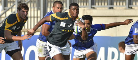 PARMA, ITALY - JUNE 06: Leolin Zas of South Africa during the 2015 World Rugby U20 Championship match between South Africa and Samoa at Stadio Sergio Lanfranchi on June 06, 2015 in Parma, Italy. (Photo by Roger Sedres/Gallo Images)
