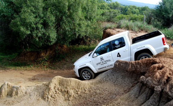 The Amarok team navigates one of the challenges during the elimination round of the 2015 Spirit of Africa trophy, in Zeerust, North West Province.   Picture: Quickpic
