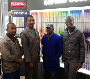 The Plascon team that worked tirelessly to prepare the walls for Eden Staff to commemorate Mandela Day by repainting Isiseko Crèche in Thembalethu.  FLTR; Vukile Ranzela, Lungisa Giyama, Victor Gwija, Siyabulela Xhosa.