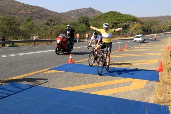 Willie Smit of Team EuropcarSA celebrates his victory in the inaugural Bestmed Jock Tour in Nelspruit, Mpumalanga, on Sunday. Photo: Hendrik Wagener